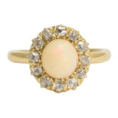 Antique Victorian Opal Diamond Round Cluster Ring