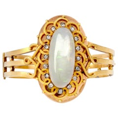 Antique Victorian Opal Rose Diamond 15 Karat Gold Bangle Bracelet