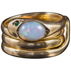 Antique Victorian Opal Snake Ring 18 Carat Gold Emerald Eyes Dated 1872