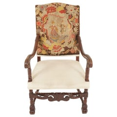 Antique Victorian Open Arm/Throne Chair, Carved Walnut, Scotland 1880, B2278