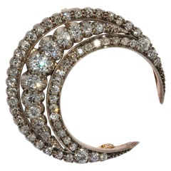 Antique Victorian, Orient Style, Gold Half Moon, Crescent Diamond Brooch