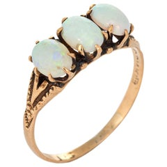 Antique Victorian Ostby Barton Three-Stone Opal Ring 14 Karat Gold Jewelry