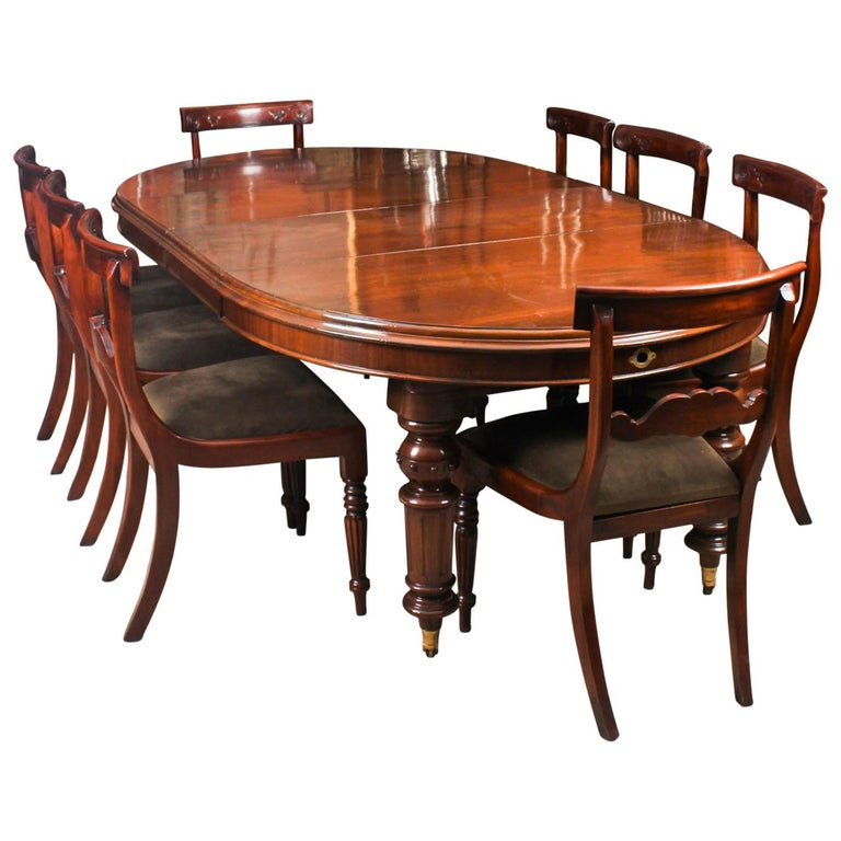 Antique Dining Room Table Chairs: Antique Victorian Oval Dining Table 19th Century And 8 Bar