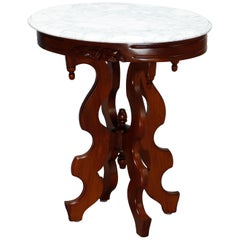 Antique Victorian Oval Marble-Top Walnut Side Table, 20th C