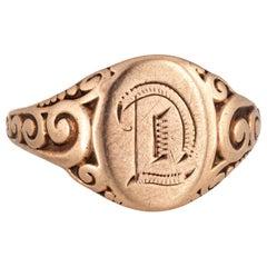 Antique Victorian Oval Signet Ring Letter D 10 Karat Gold JR Wood Fine Vintage