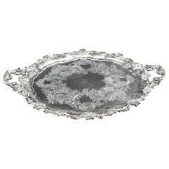 Antique Victorian Oval Silver Plated Tray by Manoah Rhodes, 19th Century
