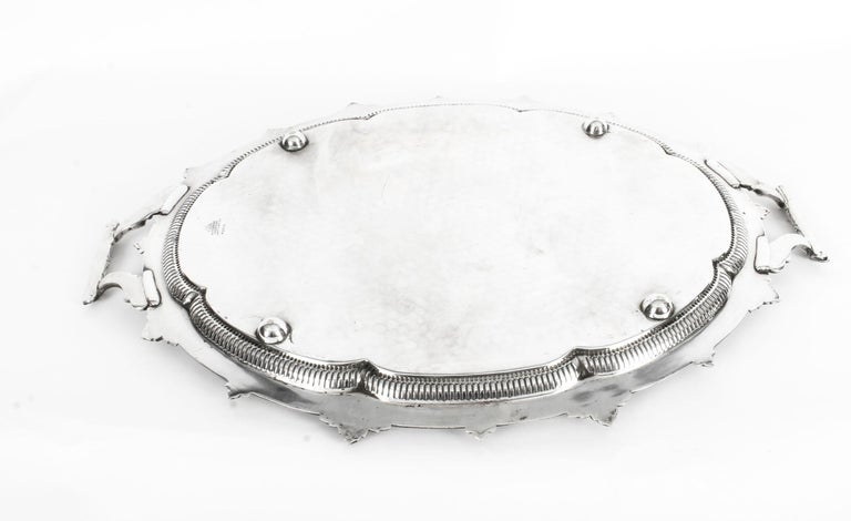 Antique Victorian Oval Silver Plated Tray by Mappin & Webb, 19th Century For Sale 5