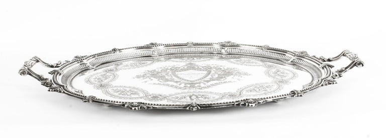 English Antique Victorian Oval Silver Plated Tray by Mappin & Webb, 19th Century For Sale