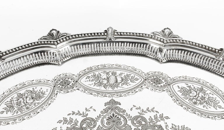 Antique Victorian Oval Silver Plated Tray by Mappin & Webb, 19th Century For Sale 1