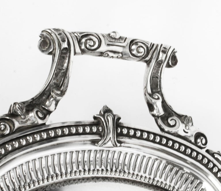 Antique Victorian Oval Silver Plated Tray by Mappin & Webb, 19th Century For Sale 2