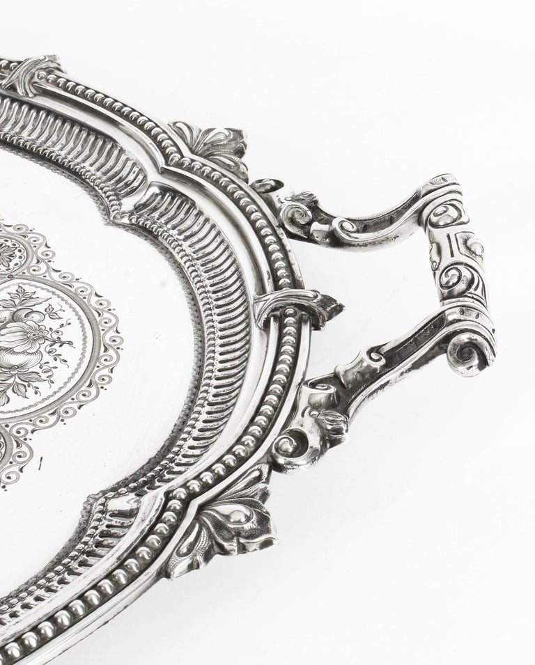 Antique Victorian Oval Silver Plated Tray by Mappin & Webb, 19th Century For Sale 3
