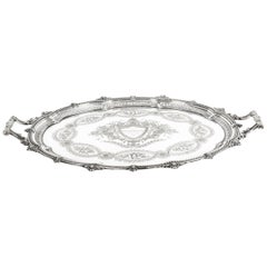 Antique Victorian Oval Silver Plated Tray by Mappin & Webb, 19th Century