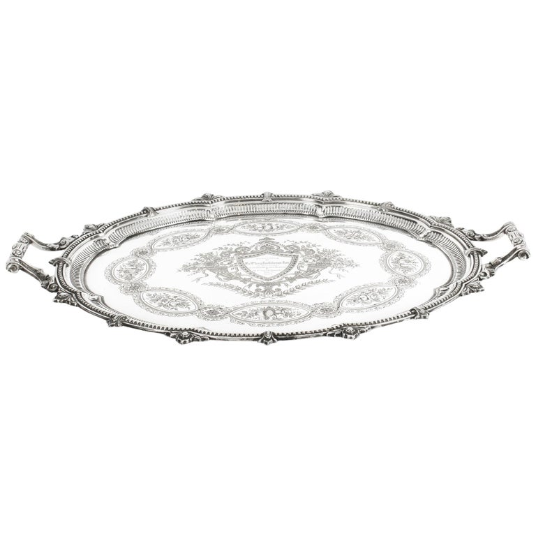 Antique Victorian Oval Silver Plated Tray by Mappin & Webb, 19th Century For Sale