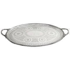 Antique Victorian Oval Sterling Silver Tray 1886 Serving Tea Drinks