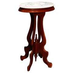 Antique Victorian Oval Walnut Marble Top Plant Stand, circa 1900