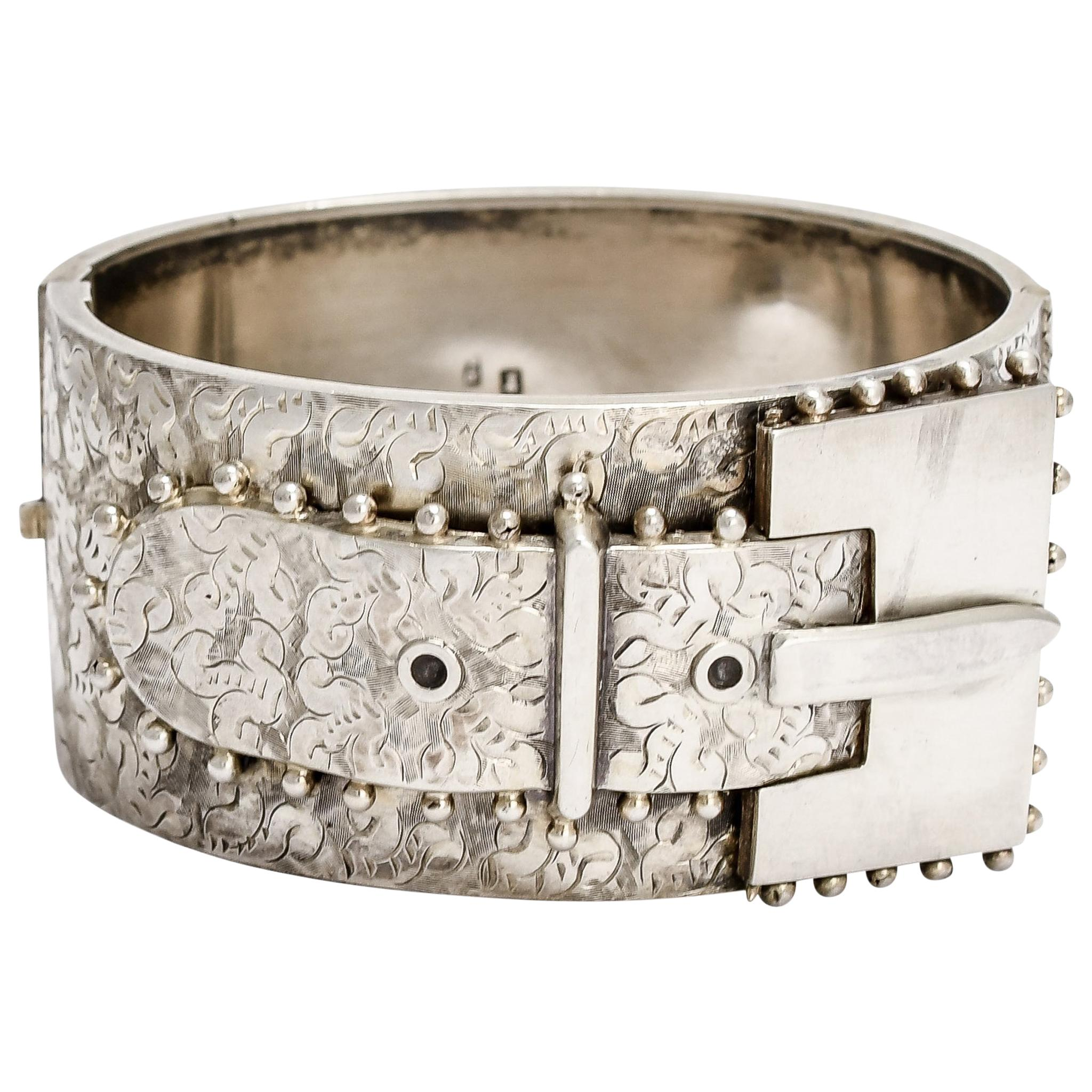 Antique Victorian Oversized Sterling Silver Buckle Bangle