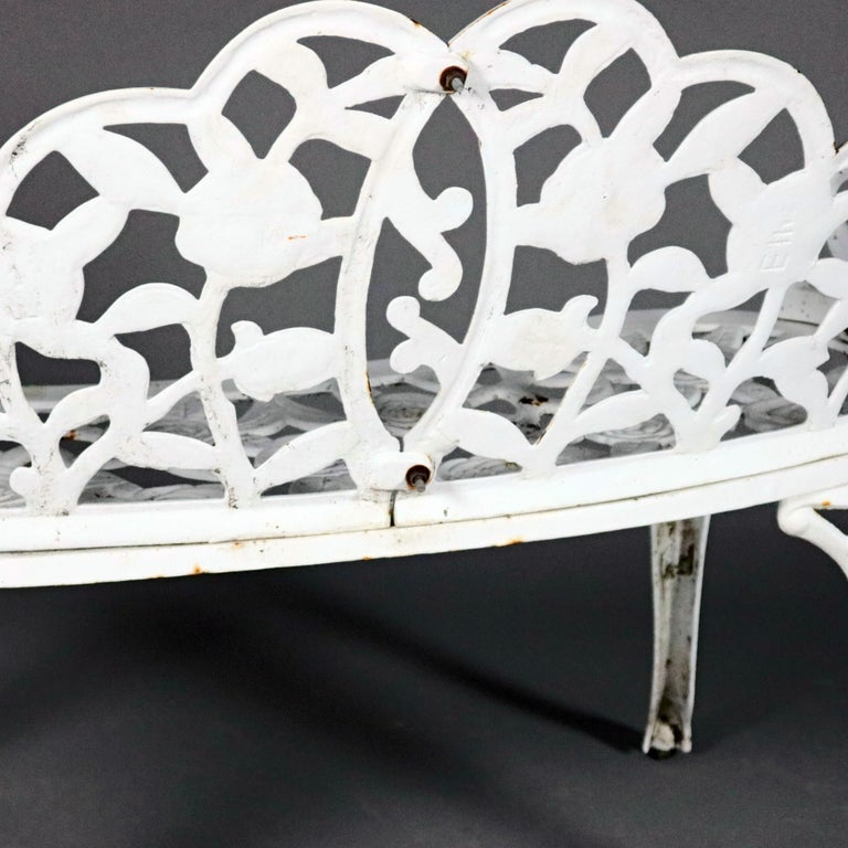 High Victorian Antique Victorian Painted Cast Metal Rose Floral Form Garden Bench, 20th Century
