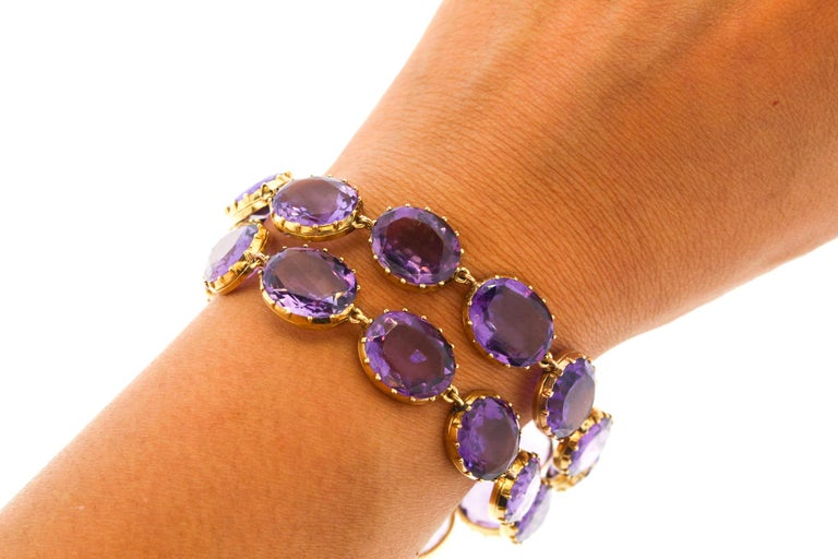 Late Victorian Antique Victorian Pair of Collet Set of Oval Amethyst Bracelets For Sale