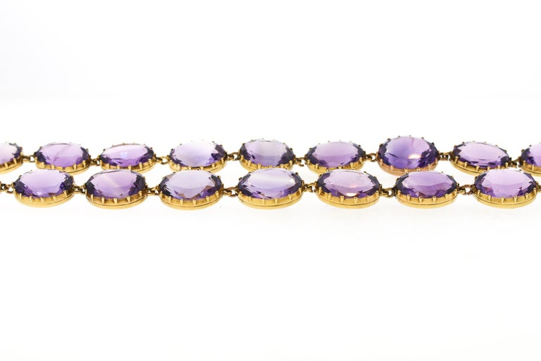 Women's or Men's Antique Victorian Pair of Collet Set of Oval Amethyst Bracelets For Sale