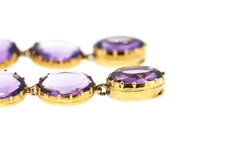 Antique Victorian Pair of Collet Set of Oval Amethyst Bracelets For Sale 1