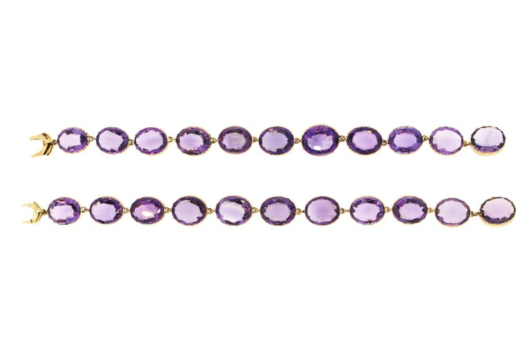 Antique Victorian Pair of Collet Set of Oval Amethyst Bracelets For Sale 2