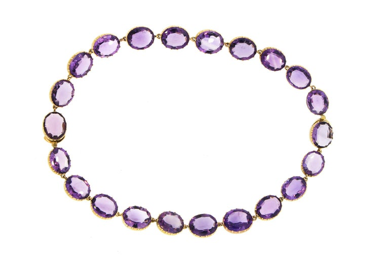 Antique Victorian Pair of Collet Set of Oval Amethyst Bracelets For Sale 4