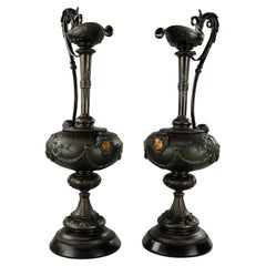 Antique Victorian Pair of Parcel Gilt Metal Classical Figural Ewer, Circa 1890