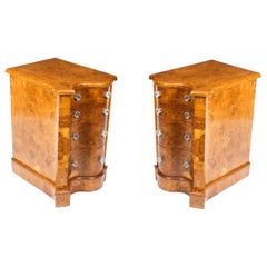 Antique Victorian Pair of Pollard Oak Bedside Chests Cabinets, 19th Century
