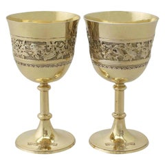 Antique Victorian Pair of Sterling Silver Gilt Goblets