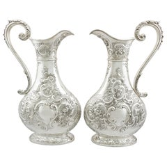 Antique Victorian Pair of Sterling Silver Jugs