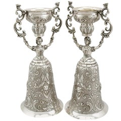 Antique Victorian Pair of Sterling Silver Wager Cups