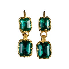 Antique Victorian Paste Double Drop Earrings 18 Carat Gold, circa 1900