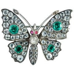 Antique Victorian Paste Stone Butterfly Silver circa 1880 Brooch