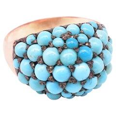 Antique Victorian Pavé Turquoise Bombé Ring