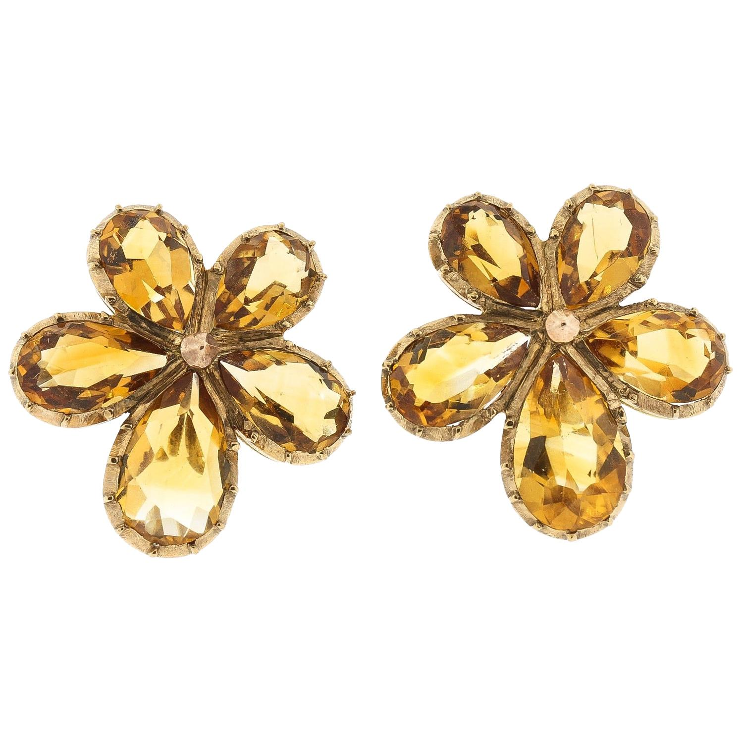 Antique Victorian Pear Shaped Citrine 9 Karat Gold Pansy Earrings