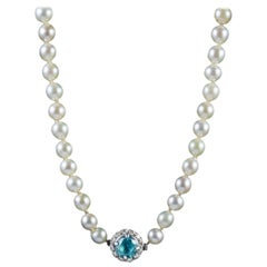 Antique Victorian Pearl 2.25 Carat Blue Zircon Diamond Clasp circa 1900 Necklace