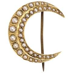 Antique Victorian Pearl Crescent Brooch