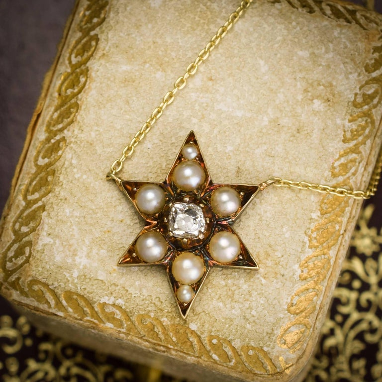 Antique Victorian Pearl Diamond Star Necklace For Sale 1