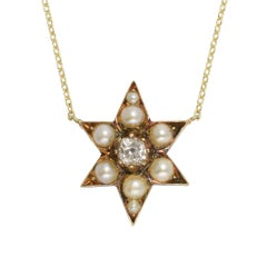 Antique Victorian Pearl Diamond Star Necklace