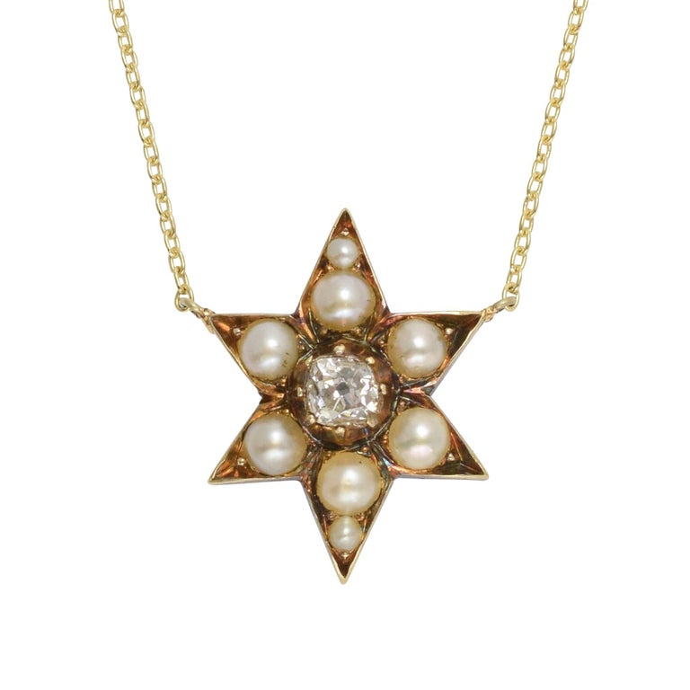 Antique Victorian Pearl Diamond Star Necklace For Sale