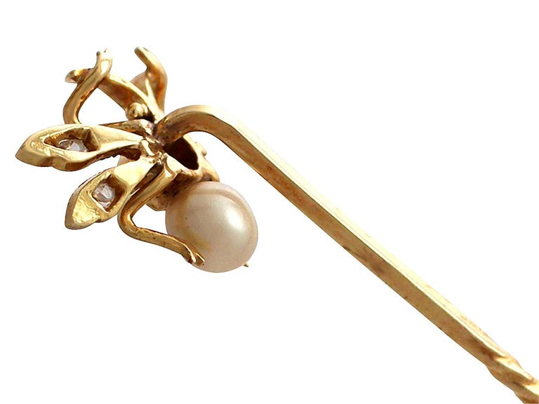 Antique Victorian Pearl Diamond Yellow Gold Insect Pin Brooch For Sale 1