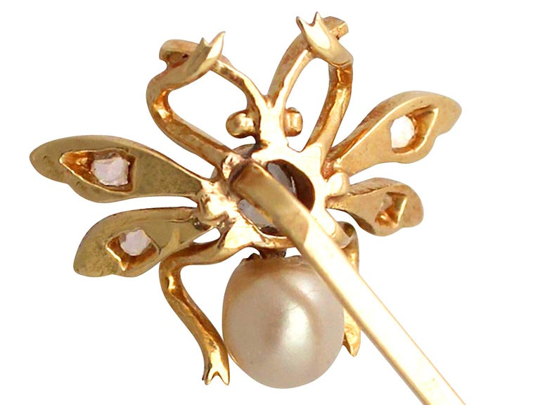 Antique Victorian Pearl Diamond Yellow Gold Insect Pin Brooch For Sale 2