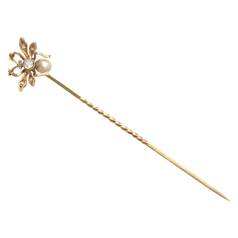 Antique Victorian Pearl Diamond Yellow Gold Insect Pin Brooch For Sale