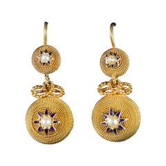 Antique Victorian Pearl Drop Earrings 18 Carat Gold, circa 1900