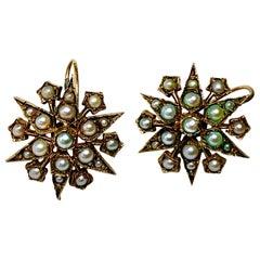 Antique Victorian Pearl Earrings 14 Karat Gold Star Snowflake Motif