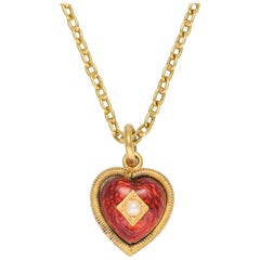 Antique Victorian Pearl Enamel Heart Locket Pendant
