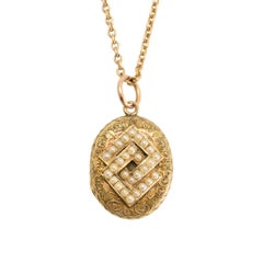 Antique Victorian Pearl Interlinked Squares Locket Necklace