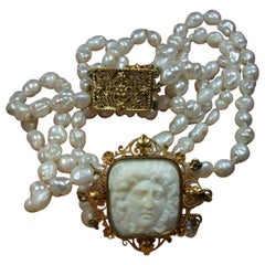 Antique Victorian Pearls Medusa Cameo Necklace Chocker