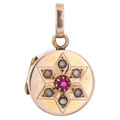 Antique Victorian Pendant Locket Pearl Ruby Star Small Charm 14k Rose Gold