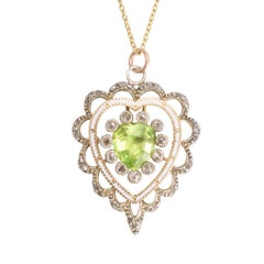 Antique Victorian Peridot Diamond Enamel Heart Pendant Necklace